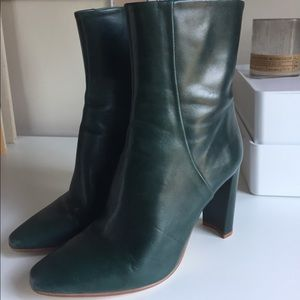Zara Shoes - Zara Genuine Leather Heeled Ankle Boots